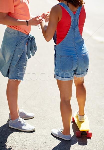 十代の カップル スケート 屋外 夏 ストックフォト © dolgachov