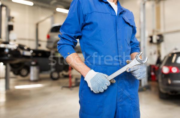 Automechaniker Schraubenschlüssel Auto Workshop Service Reparatur Stock foto © dolgachov