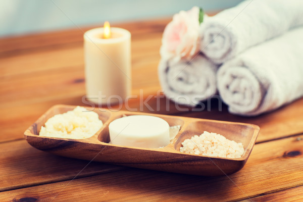 close up of soap, himalayan salt and scrub in bowl Stock photo © dolgachov
