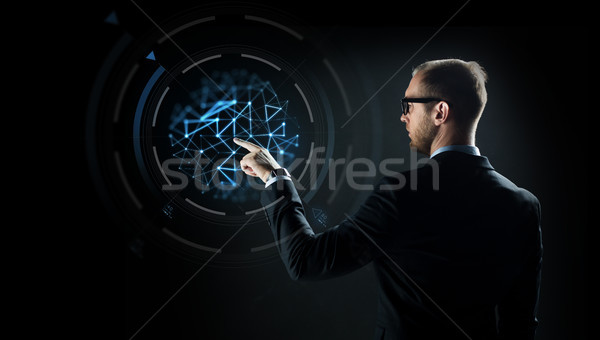 Empresário indicação dedo virtual projeção negócio Foto stock © dolgachov