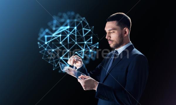 Zakenman netwerk projectie zakenlieden moderne Stockfoto © dolgachov