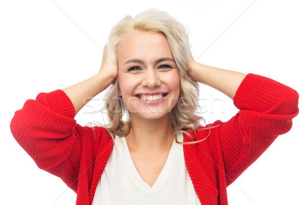 Gelukkig glimlachend jonge vrouw Rood cardigan mode Stockfoto © dolgachov