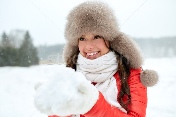 счастливым женщину зима мех Hat снега Сток-фото © dolgachov