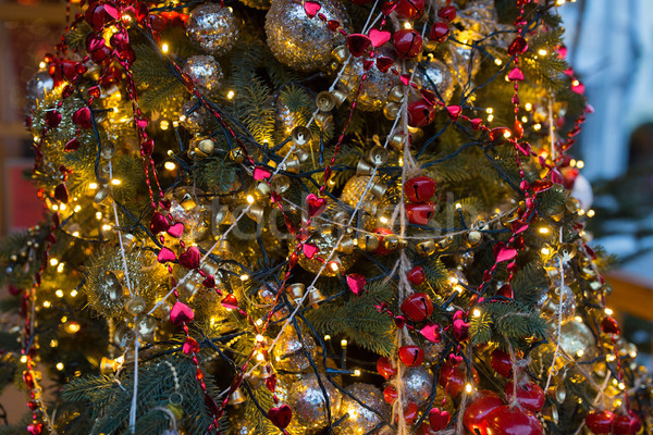 close up of fir with christmas tree toys outdoors Stock photo © dolgachov