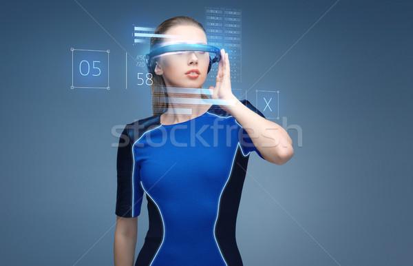 женщину виртуальный реальность 3d очки науки Сток-фото © dolgachov