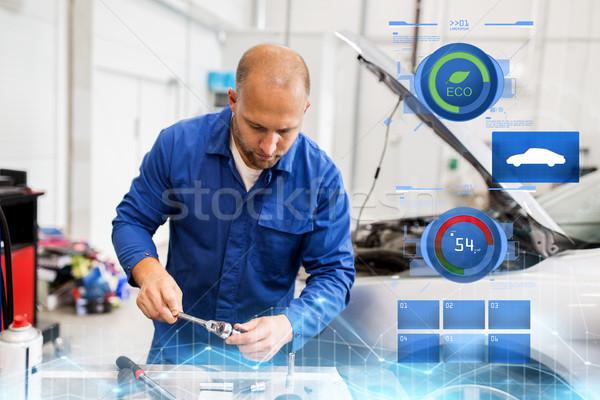 механиком человека ключа автомобилей семинар Сток-фото © dolgachov