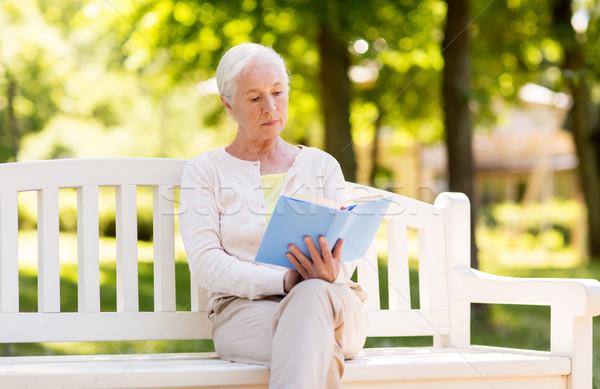 Idős nő olvas könyv nyár park Stock fotó © dolgachov