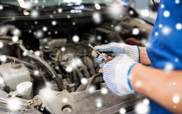 mechanic hands with wrench repairing car Stock photo © dolgachov