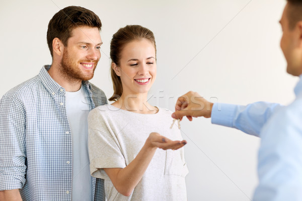 realtor giving keys from new home to happy couple Stock photo © dolgachov