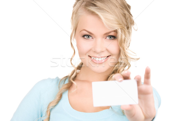 happy girl with business card Stock photo © dolgachov