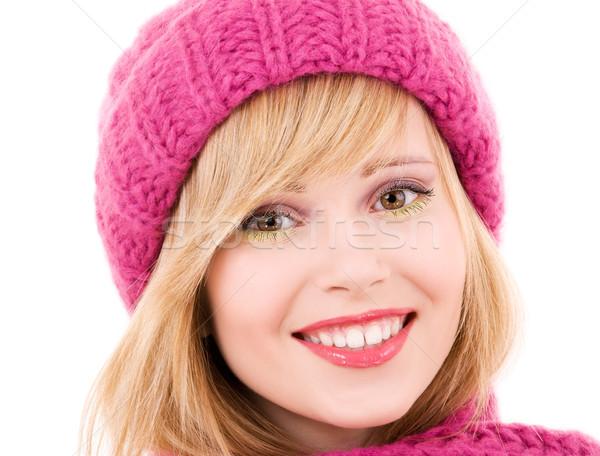 Boldog tinilány kalap tél fehér nő Stock fotó © dolgachov