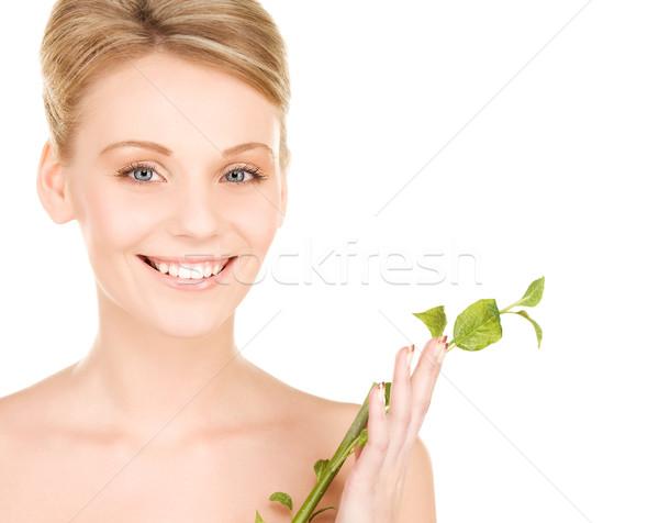 ストックフォト: 女性 · 芽 · 画像 · 白 · 健康 · 緑