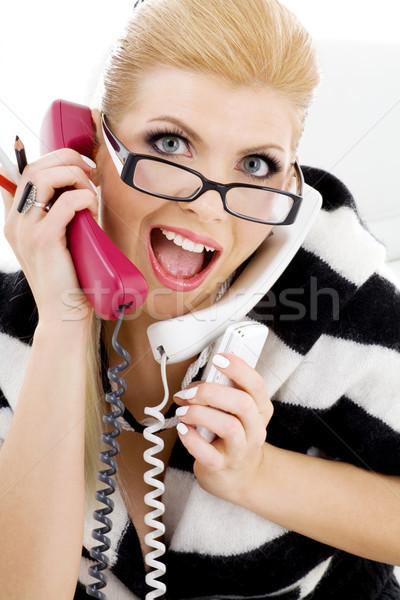 Foto stock: Gritando · mujer · de · negocios · primer · plano · Foto · blanco · mujer