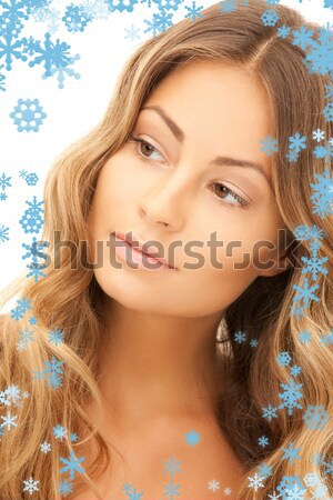 mysterious blue-eyed blond in pearls Stock photo © dolgachov