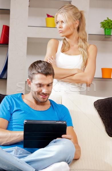 couple with tablet PC Stock photo © dolgachov