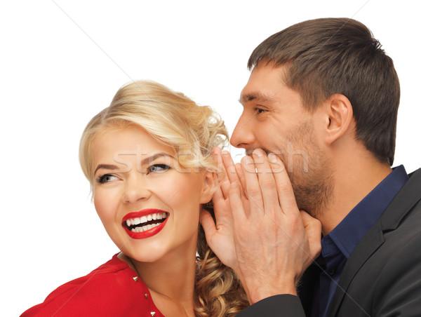 Homem mulher fofoca brilhante quadro foco Foto stock © dolgachov