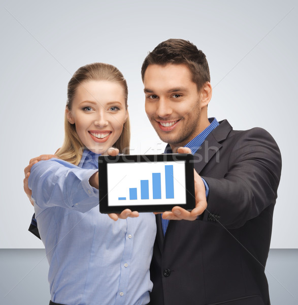man and woman with tablet pc Stock photo © dolgachov