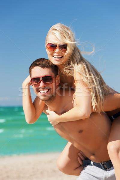 Paar strand foto gelukkig vrouw Stockfoto © dolgachov