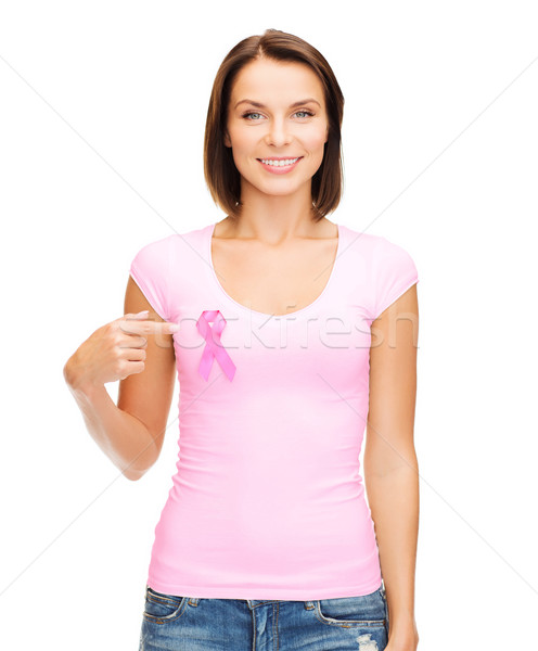 woman in blank t-shirt with pink cancer ribbon Stock photo © dolgachov