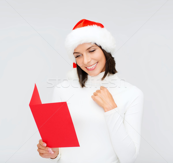 Stok fotoğraf: Kadın · yardımcı · şapka · kırmızı · kartpostal