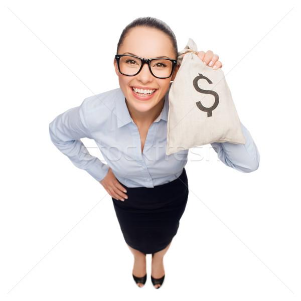 Boldog üzletasszony tart pénz táska dollár Stock fotó © dolgachov