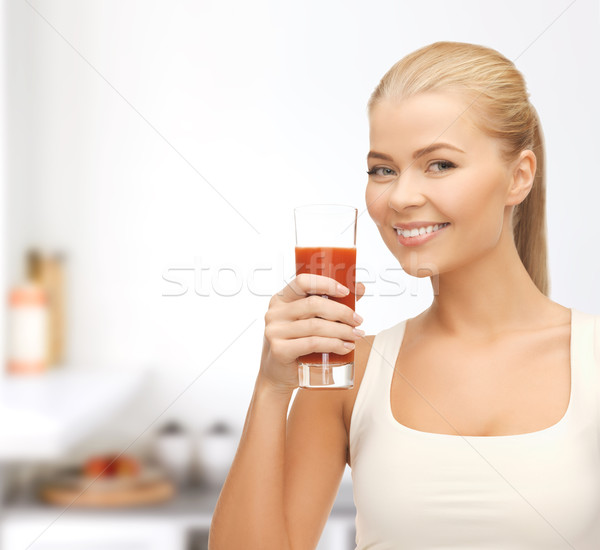 Vrouw glas tomatensap gezondheid dieet Stockfoto © dolgachov