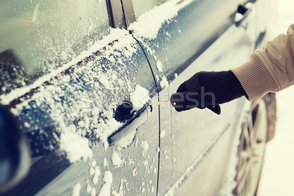 closeup of man hand opening car with key Stock photo © dolgachov