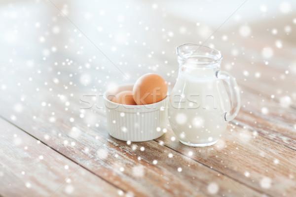 Latte uova ciotola cottura home Foto d'archivio © dolgachov