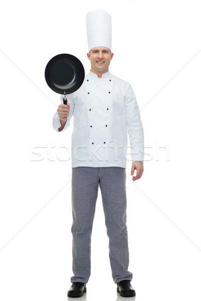 happy male chef cook holding frying pan Stock photo © dolgachov
