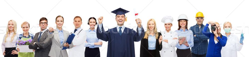 Mutlu bekâr diploma profesyoneller insanlar meslek Stok fotoğraf © dolgachov
