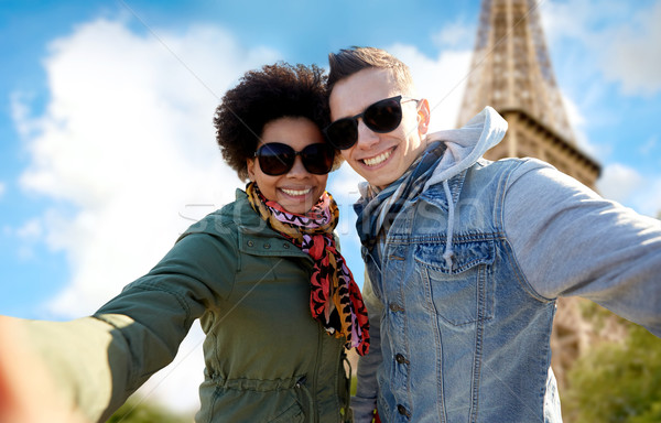 Mutlu çift Eyfel Kulesi turizm seyahat Stok fotoğraf © dolgachov