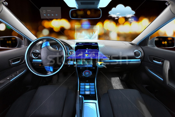 car salon with navigation system and meteo sensors Stock photo © dolgachov