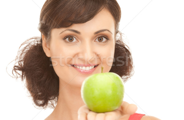 young beautiful woman with green apple Stock photo © dolgachov