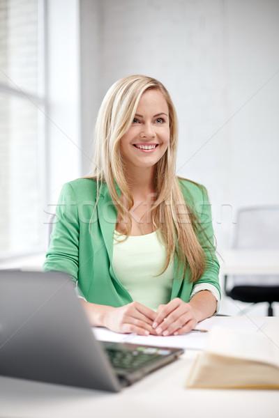 Boldog diák lány laptop iskola oktatás Stock fotó © dolgachov