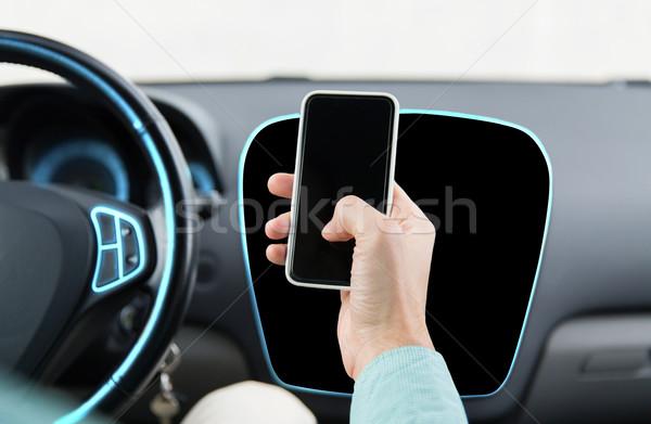 男性 手 スマートフォン 運転 車 ストックフォト © dolgachov
