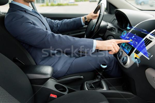 Man rijden auto navigatie vervoer Stockfoto © dolgachov
