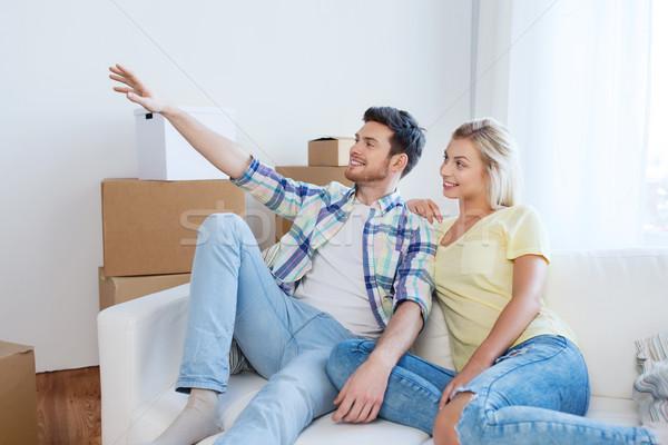 Stockfoto: Paar · dozen · bewegende · nieuw · huis · mensen