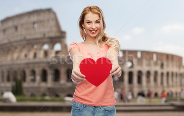 счастливым женщину подростка девушка красный формы сердца любви Сток-фото © dolgachov