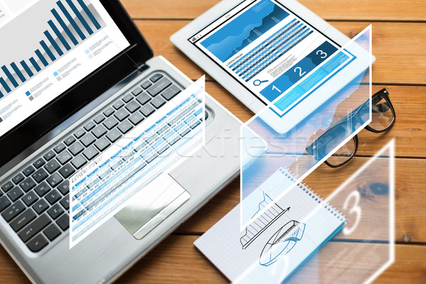 close up of on laptop, tablet pc and notebook Stock photo © dolgachov