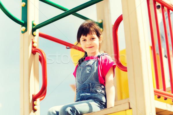 Boldog kislány gyerekek játszótér nyár gyermekkor Stock fotó © dolgachov