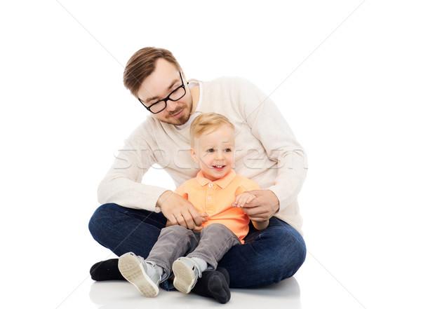 Heureux père peu fils famille enfance Photo stock © dolgachov