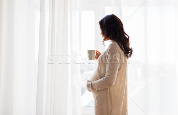 妊婦 茶碗 ウィンドウ 妊娠 ドリンク ストックフォト © dolgachov
