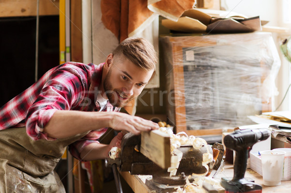 Timmerman werken hout plank workshop beroep Stockfoto © dolgachov
