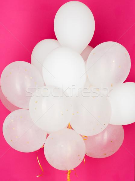 Blanco helio globos rosa vacaciones Foto stock © dolgachov