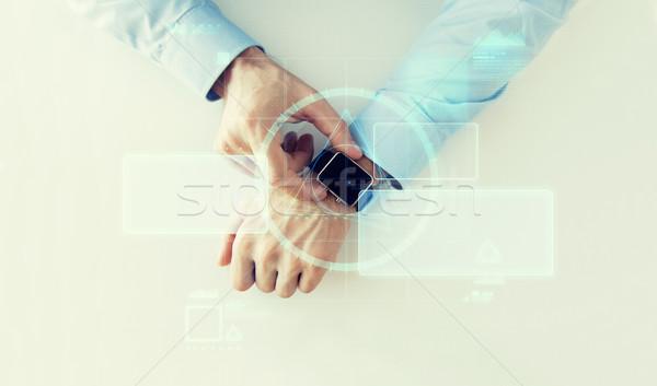 手 バーチャル 画面 投影 ビジネス 将来 ストックフォト © dolgachov