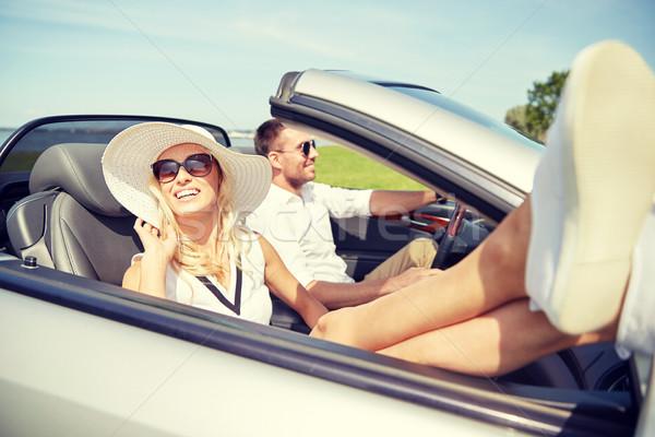 Foto stock: Feliz · homem · mulher · condução · cabriolé · carro