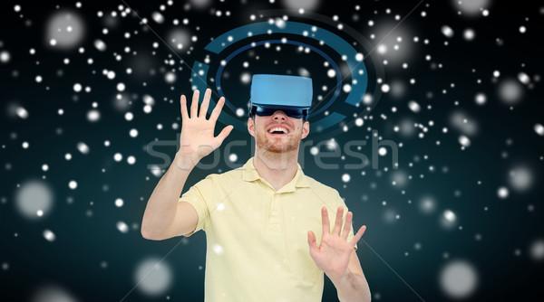 Szczęśliwy człowiek faktyczny rzeczywistość zestawu okulary 3d Zdjęcia stock © dolgachov