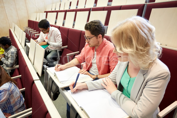 Grupo estudantes palestra ouvir educação Foto stock © dolgachov