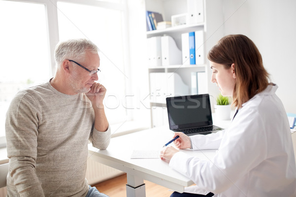 old man and doctor with prescription at hospital Stock photo © dolgachov