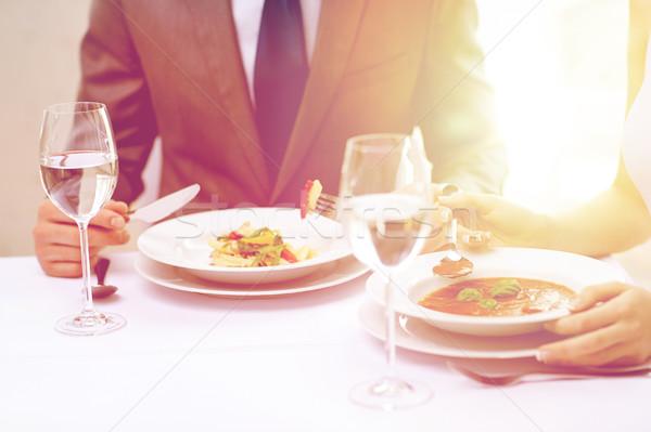 カップル 食べ 前菜 レストラン レストランの食べ物 ストックフォト © dolgachov